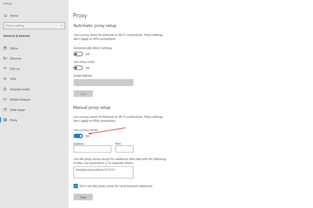 Enable use a proxy server