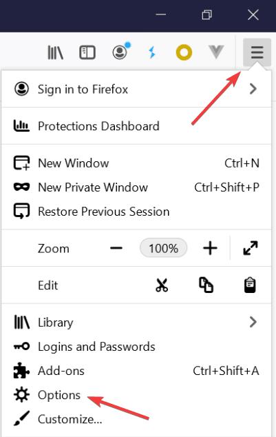 Open firefox options